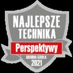 Znaczek rankingu szkół z napisami Najlepsze Technika - Perspektywy - Srebrna Szkoła 2021